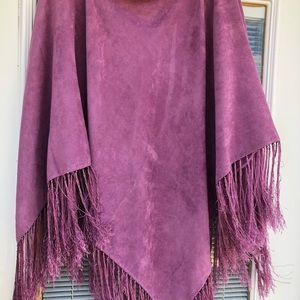 Raspberry pink poncho type wrap and fringed bottom